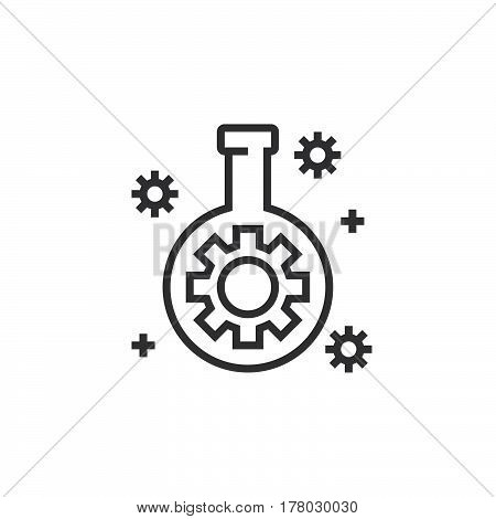 Technology lab flask with gear line icon outline vector sign linear pictogram isolated on white. logo illustration