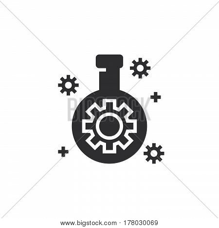 Technology lab flask with gear icon vector filled flat sign solid pictogram isolated on white logo illustration