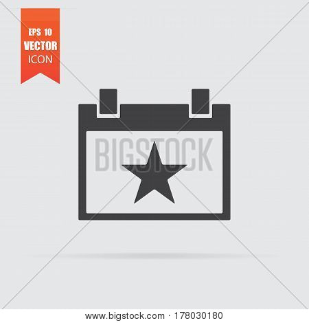 Calendar With Star Icon In Flat Style Isolated On Grey Background.