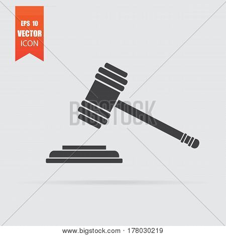 Hammer Judge Icon In Flat Style Isolated On Grey Background.
