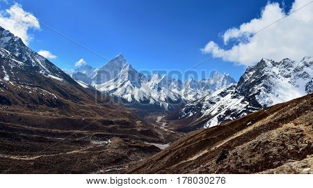 Beautiful panoramic view of the valley and Ama Dablam mountain on the way to Everest base camp Nepal.