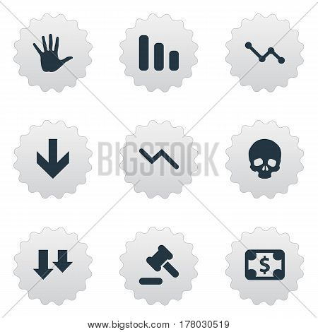 Vector Illustration Set Of Simple Crisis Icons. Elements Descending, Info Graph, Palm And Other Synonyms Graph, Arm And Head.