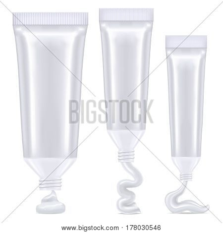 vector isolated illustration of white realistic tubes with cream drops
