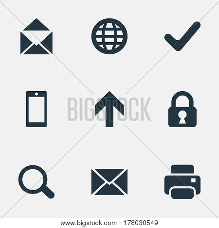 Vector Illustration Set Of Simple Practice Icons. Elements Lock, Upward Direction, Web And Other Synonyms Touchscreen, Print And Closed.