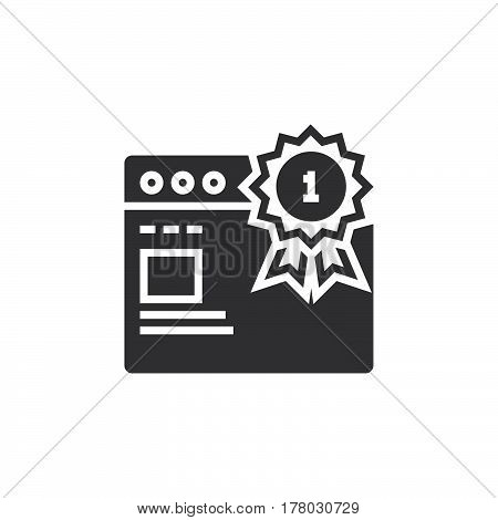 Top ranking website symbol. first place medal and web browser icon vector filled flat sign solid pictogram isolated on white logo illustration