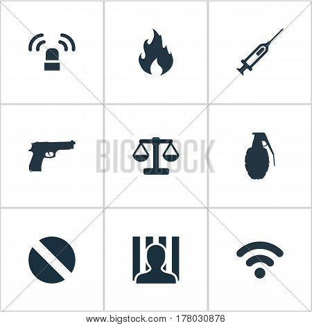 Vector Illustration Set Of Simple Crime Icons. Elements Siren, Internet, Justice And Other Synonyms Arrest, Explode And Punishment.