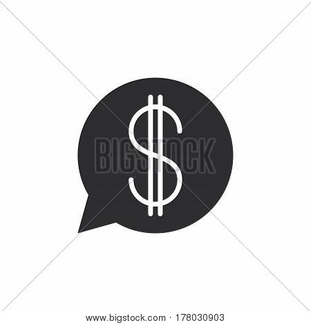 Speech bubble with dollar sign icon vector filled flat symbol solid pictogram isolated on white logo illustration