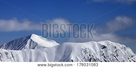 Panoramic View On Mountains With Trace Of Avalanche