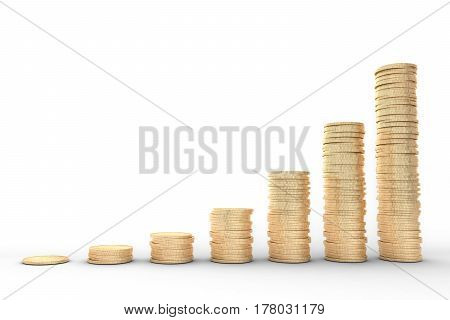 3d image: high quality rendering: Metal copper-gold coins graph chart stock market white background isolated.