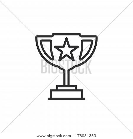 Winner trophy symbol. Loving cup with star line icon outline vector sign linear pictogram isolated on white. logo illustration