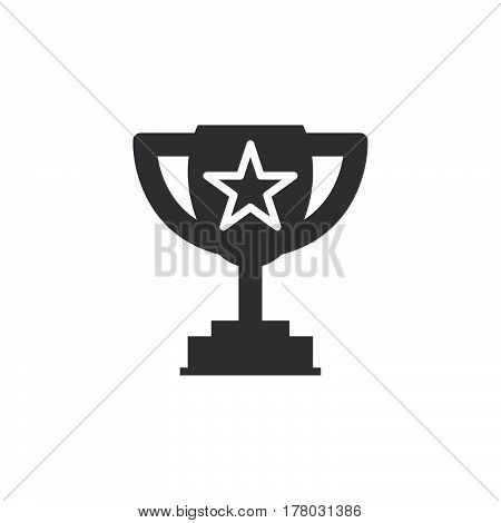 Winner trophy symbol. Loving cup with star icon vector filled flat sign solid pictogram isolated on white logo illustration