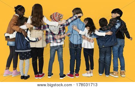 Children Hugging Togetherness Studio Concept