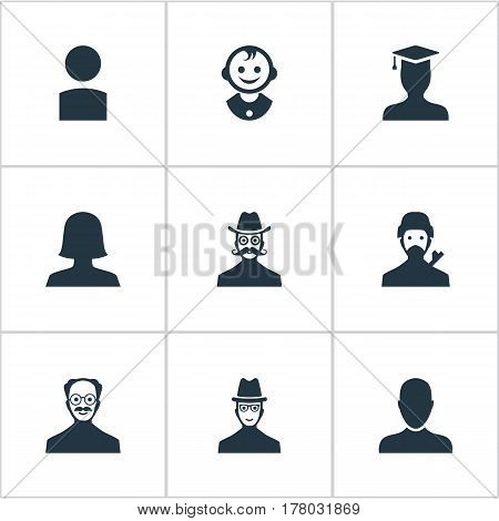 Vector Illustration Set Of Simple Member Icons. Elements Job Man, Young Shaver, Insider And Other Synonyms Graduate, Mustaches And Spy.