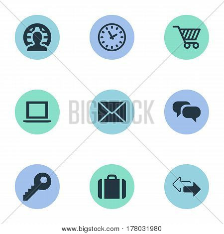 Vector Illustration Set Of Simple B2B Icons. Elements Letter, Member, Trading Purse And Other Synonyms Password, Cipher And User.