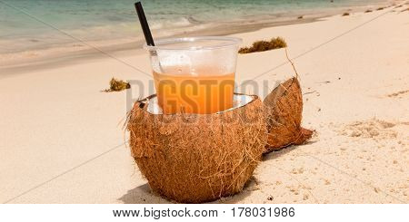 Orange Coconuts And Cocktails On The Beach