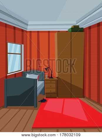 Digital vector abstract background with a small house interior with a bed by the window, lamp, carpet and furniture, flat style