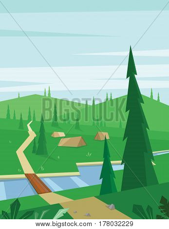 Digital vector abstract background with a bridge and river, tents and green heels with pine forest, blue sky and clouds, flat triangle style