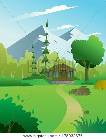 Digital vector abstract background with a hunter house with deer head, forest and mountains, blue sky and clouds, flat triangle style