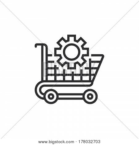Ecommerce optimization symbol. Shopping cart and gear line icon outline vector sign linear pictogram isolated on white. logo illustration