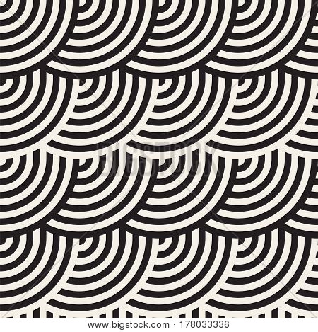 Seamless monochrome geometric pattern. Abstract stripy geometric background. Stylish vector rounded lines print