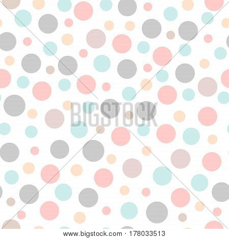 Seamless vector party pattern with different sizes dots. Backdrop wrapping fabric design