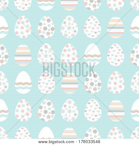 Easter seamless pattern with white chicken eggs. Perfect for wallpaper gift paper pattern fills web page background spring and Easter greeting cards. Soft pastel colors.