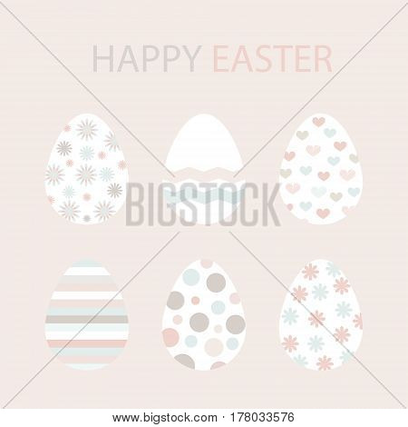 Set of Easter eggs. Zigzags stripes flowers hearts dots waves pattern. Perfect for holiday greetings. Laconic minimalist design with pastel colors and background.