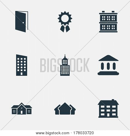 Vector Illustration Set Of Simple Construction Icons. Elements Block, Floor, Reward And Other Synonyms Premises, Domicile And Apartment.