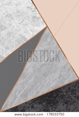 Modern geometric minimal poster design with marble texture