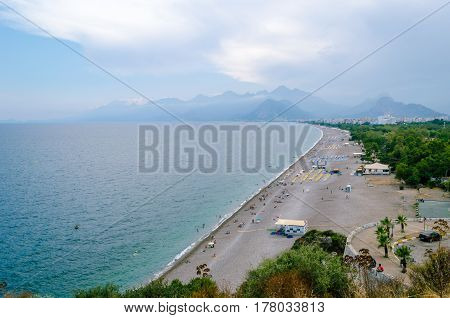 View of beach, sea and the surrounding area of the city.