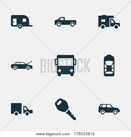 Vector Illustration Set Of Simple Auto Icons. Elements Caravan, Tour Bus, Repair And Other Synonyms Trucking, Vehicle And Key.