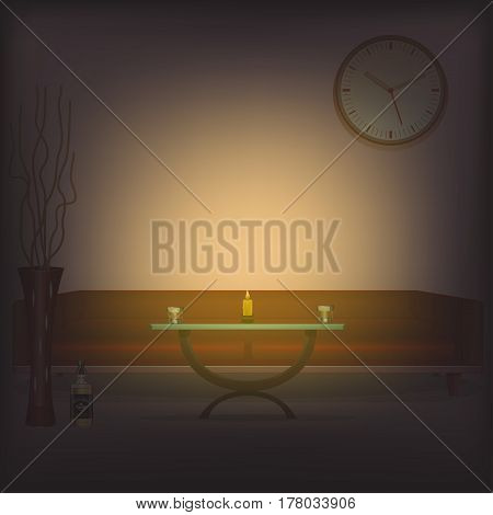Wax candle. The candlestick is brown. Room of designer interior. Romantic. Vector illustrator