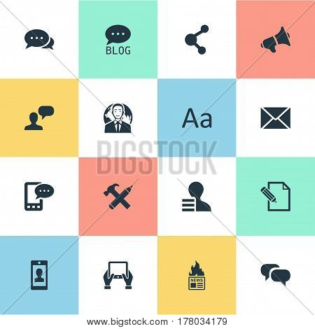 Vector Illustration Set Of Simple User Icons. Elements Man Considering, Share, Post And Other Synonyms Profile, Gossip And Hammer.