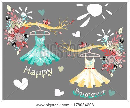 Modern colorful woman dresses hanging on hangers for design. Colorful pastel floral pattern on the gray bckground. Template for text. Vector illustration