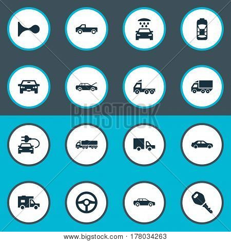 Vector Illustration Set Of Simple Automobile Icons. Elements Traffic, Haulage, Auto And Other Synonyms Shipment, Tuning And Truck.