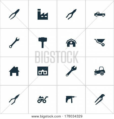 Vector Illustration Set Of Simple Repair Icons. Elements Cart, Adjustable Wrench, Manufacture And Other Synonyms Empty, Instrument And Equipment.