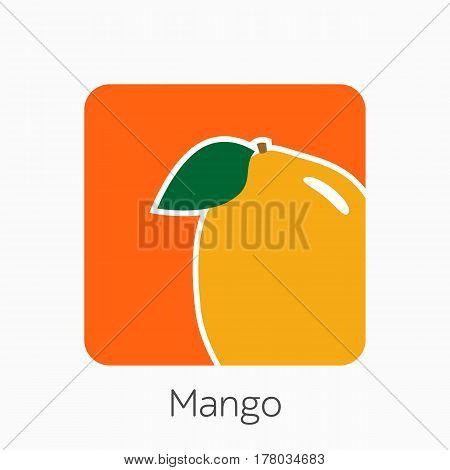 Mango Icon Simple Flat Vector Illustration. Fresh Mango Sign