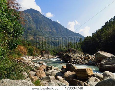 Marsyangdi river in Khudi. Annapurna Conservation Area Nepal.