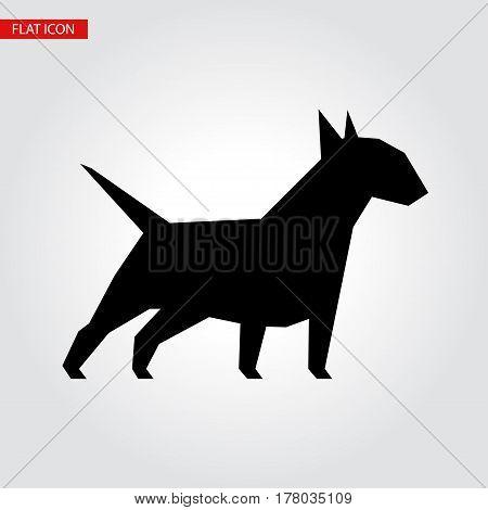 Bull terrier dog vector black silhouette. Vector illustration for your cute design.