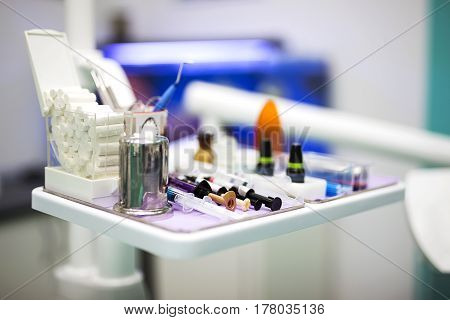 Close Up  View At Set Of Dentist Tools