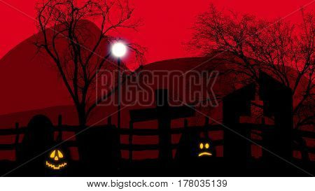 c of Halloween concept graveyard with pumpkins on red sky and rocks.