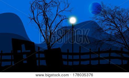 3d illustration of Halloween concept graveyard lampstand and moon on a blue sky background
