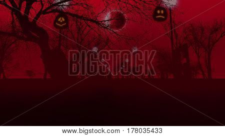 Pumpkins the Moon lampstands and trees on a red foggy background. 3d illustration of halloween concept.