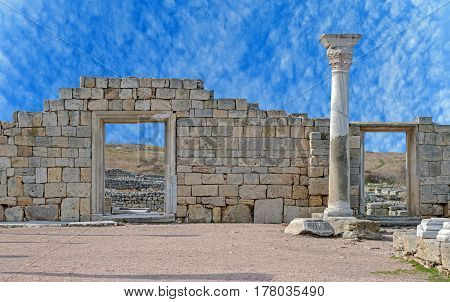 Ancient castle with columns in Chersonese in Sevastopol town