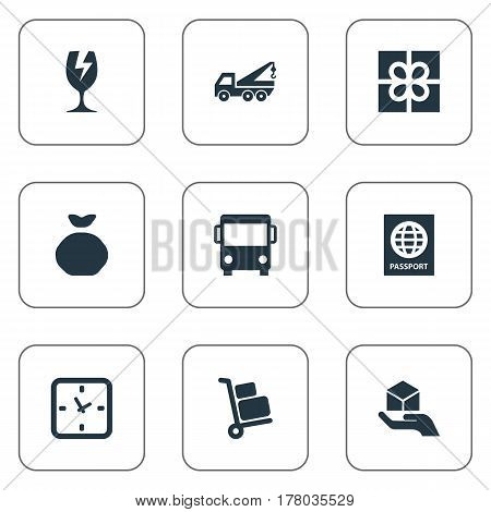 Vector Illustration Set Of Simple Handing Icons. Elements Hand , Gift , Minutes Synonyms Gift, Identity And Shipping.