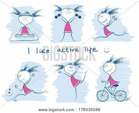 Young Girl In Variouse Sport Lifestyle.vector Doodle Hand Draw Illustrations