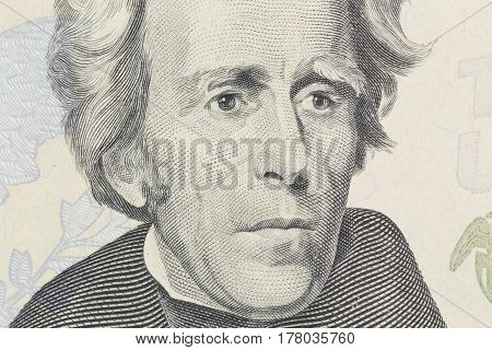 US President Andrew Jackson face on twenty dollar bill macro