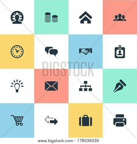 Vector Illustration Set Of Simple Business Icons. Elements Clock, Nib, Printing Machine And Other Synonyms Timer, Card And Handshake.