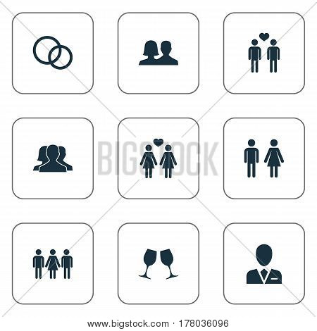 Vector Illustration Set Of Simple Lovers Icons. Elements Dissolve The Marriage, Wineglass, Rings And Other Synonyms Men, Homosexual And Candidate.