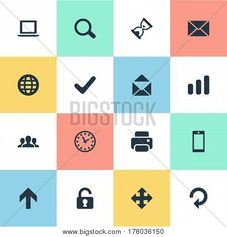 Vector Illustration Set Of Simple Practice Icons. Elements Printout, Arrows, Notebook And Other Synonyms Printout, Smartphone And Okay.
